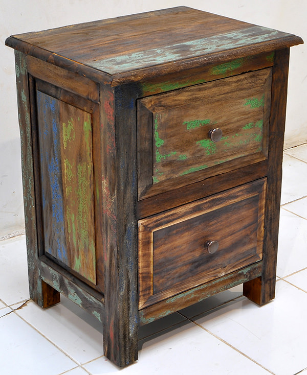 recycled solid paint on teak bed side table