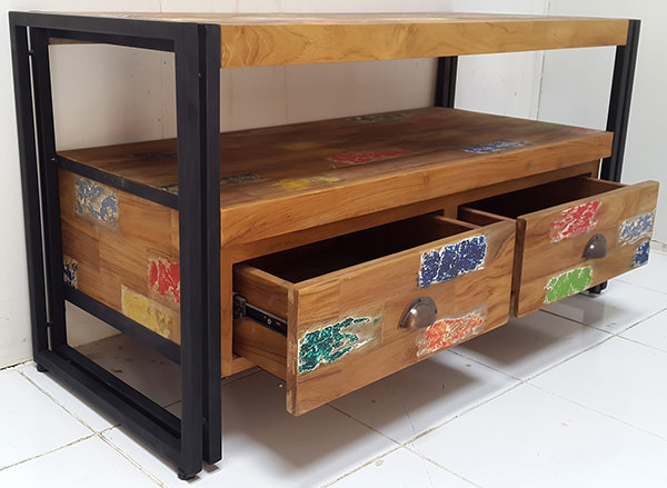 iron and wood tv cabinet