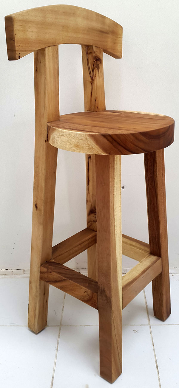 wooden bar chair with round seat