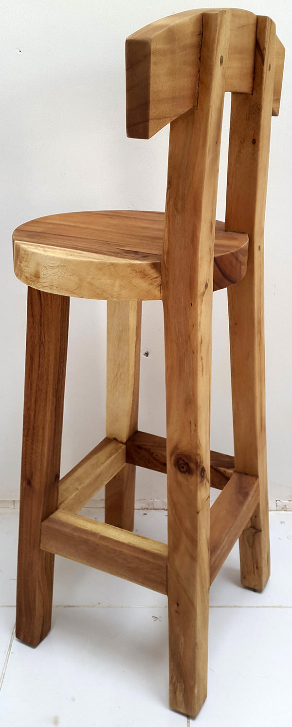 wooden bar chair with round seat and natural color