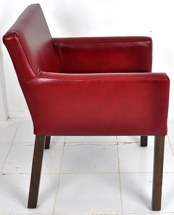red genuine Italian leather chair with teak feet