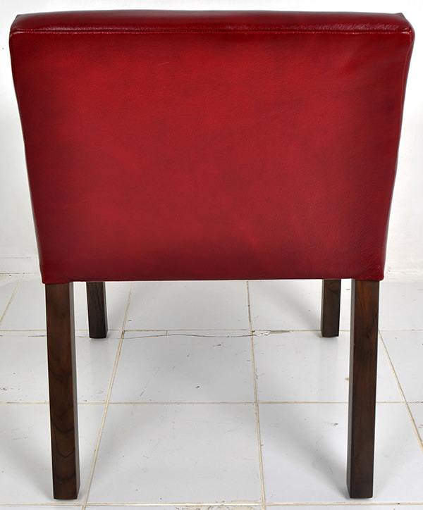 red genuine Italian leather dining chair with teak feet