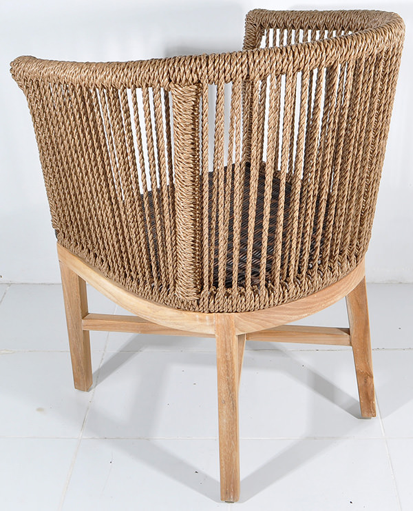 teak and natural rattan mid-century chair