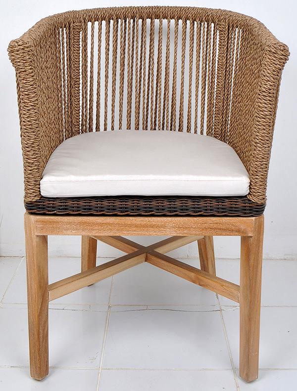 teak and natural rattan mid-century armchair