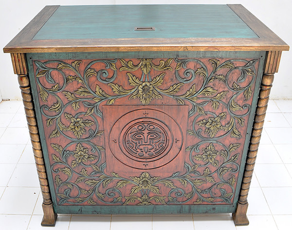 teak dj station with vintage colored finish and handmade carvings