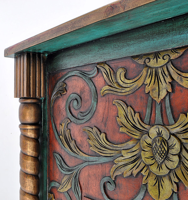 DJ Station with handmade wood carvings and antique paints