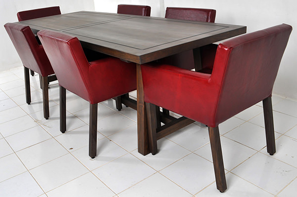 square teak table with dining chairs with red leather