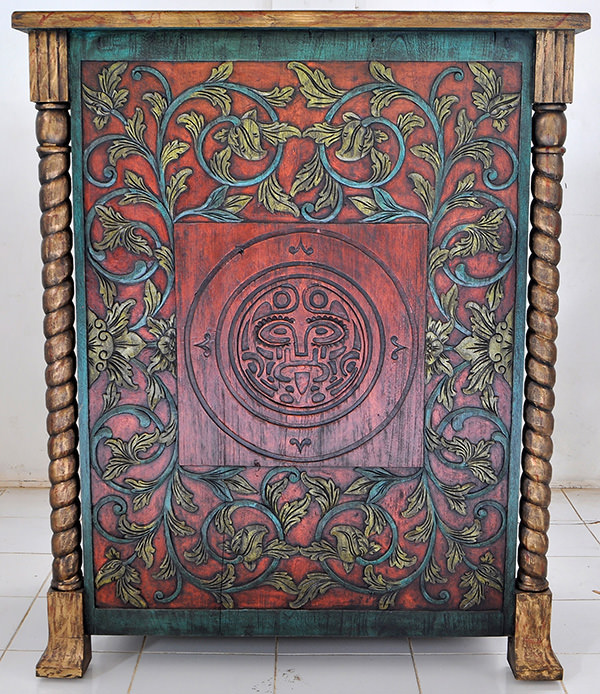 DJ Station with handmade wood carvings and antique red and green paints