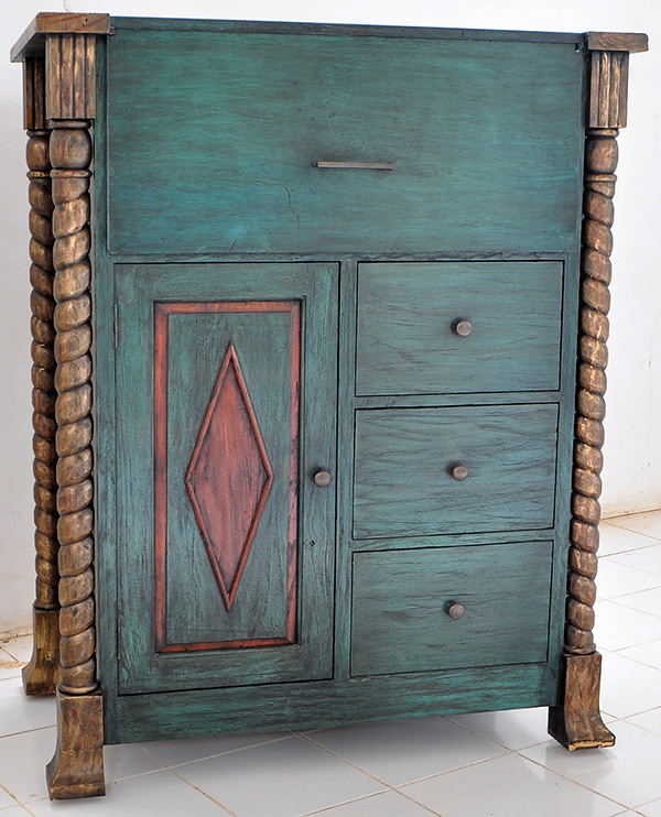 DJ Station with handmade wood carvings and antique red and green vintage paints and finishes