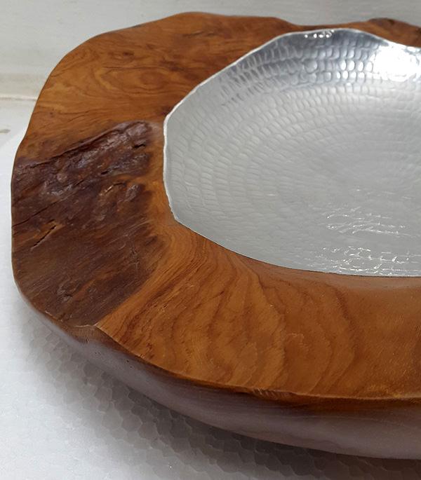 teak plate with aluminium insert