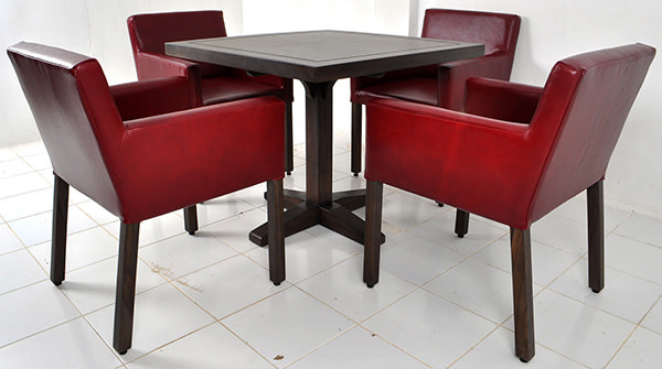 square teak table with dining chairs