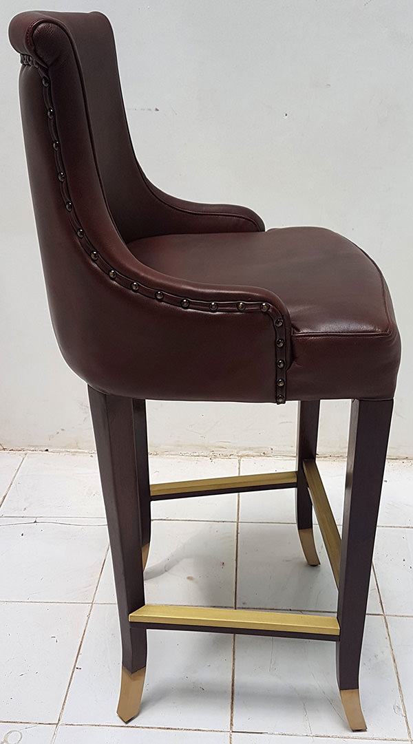 antique leather bar chair