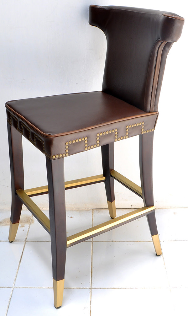 leather and brass bar chair for restaurant