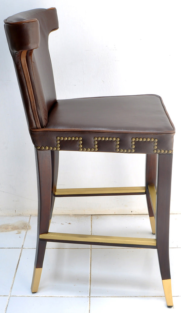 vintage leather and brass bar chair for restaurant