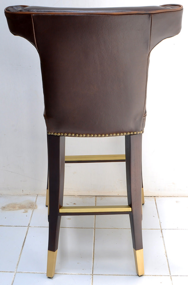 vintage leather and brass bar chair backseat for restaurant