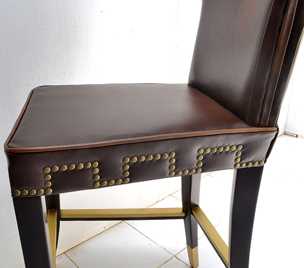 leather bar chair with brass feet