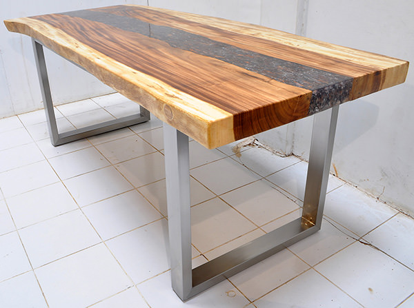 suar dining table with stainless steel legs