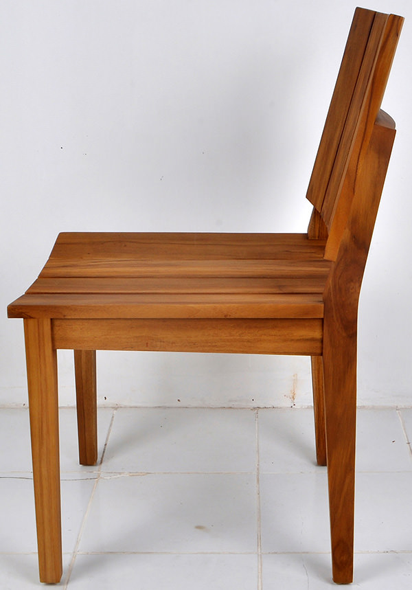 teak garden chair with natural brown stain