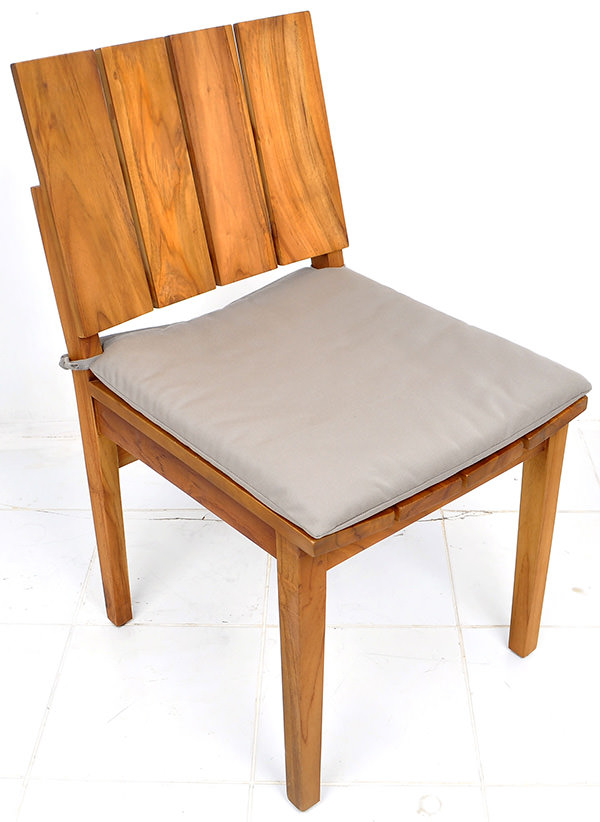 teak garden chair with natural brown stain and grey cushion
