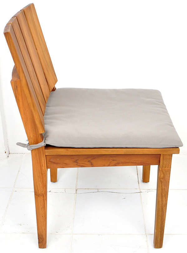 teak garden chair with natural brown stain and grey seat cushion