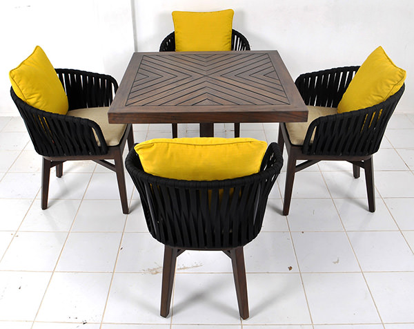 outdoor Scandinavian dining chair with seat cushion for restaurant