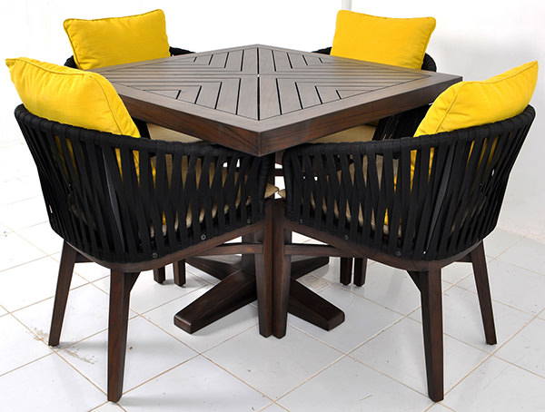 outdoor Scandinavian dining chair with seat cushion for restaurant and throwing pillow