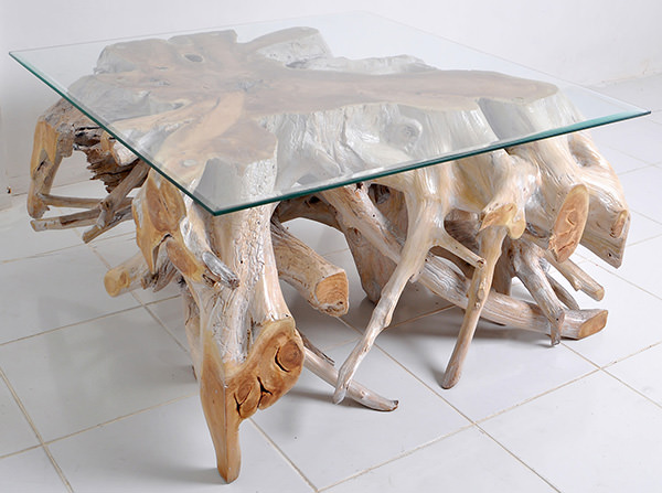 natural roots furniture coffee table with bevelled glass top
