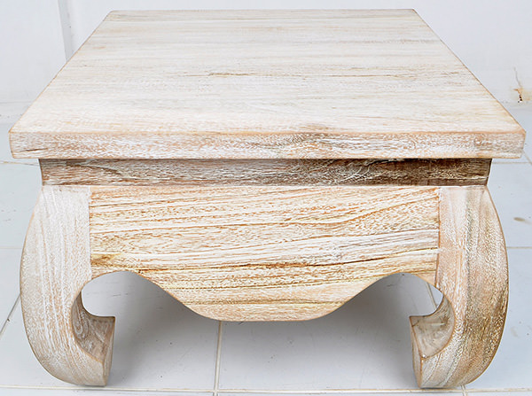 white washed square table
