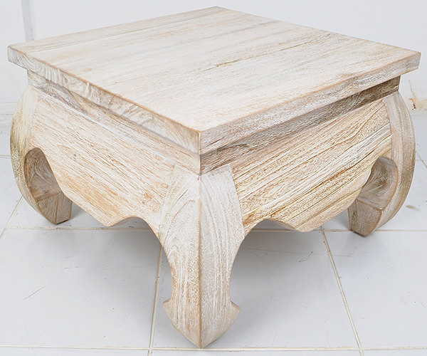 white washed teak square table