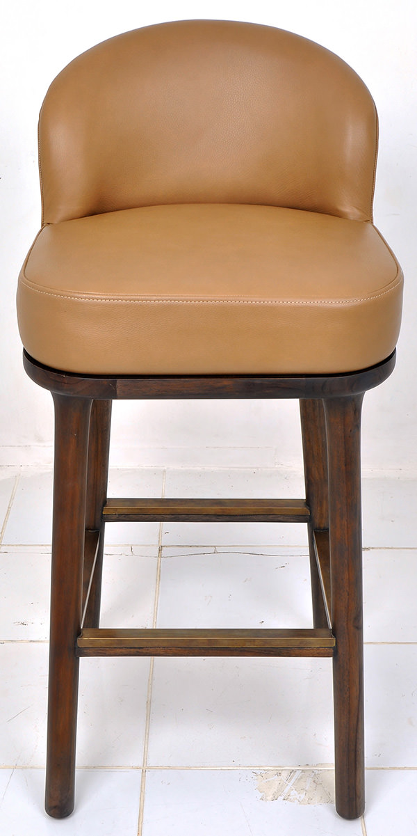 teak and leather bar stool