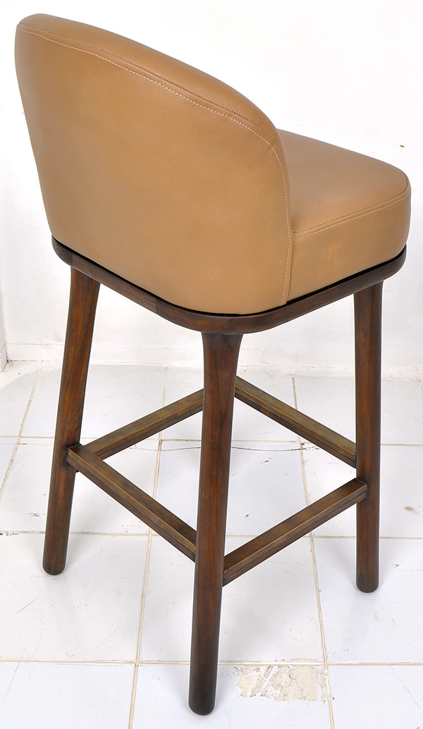teak and genuine Italian leather bar stool for restaurant in Doha Qatar