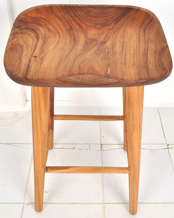 solid teak custom-made stool with natural finish