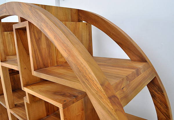asian round wooden bookcase with matte coatin