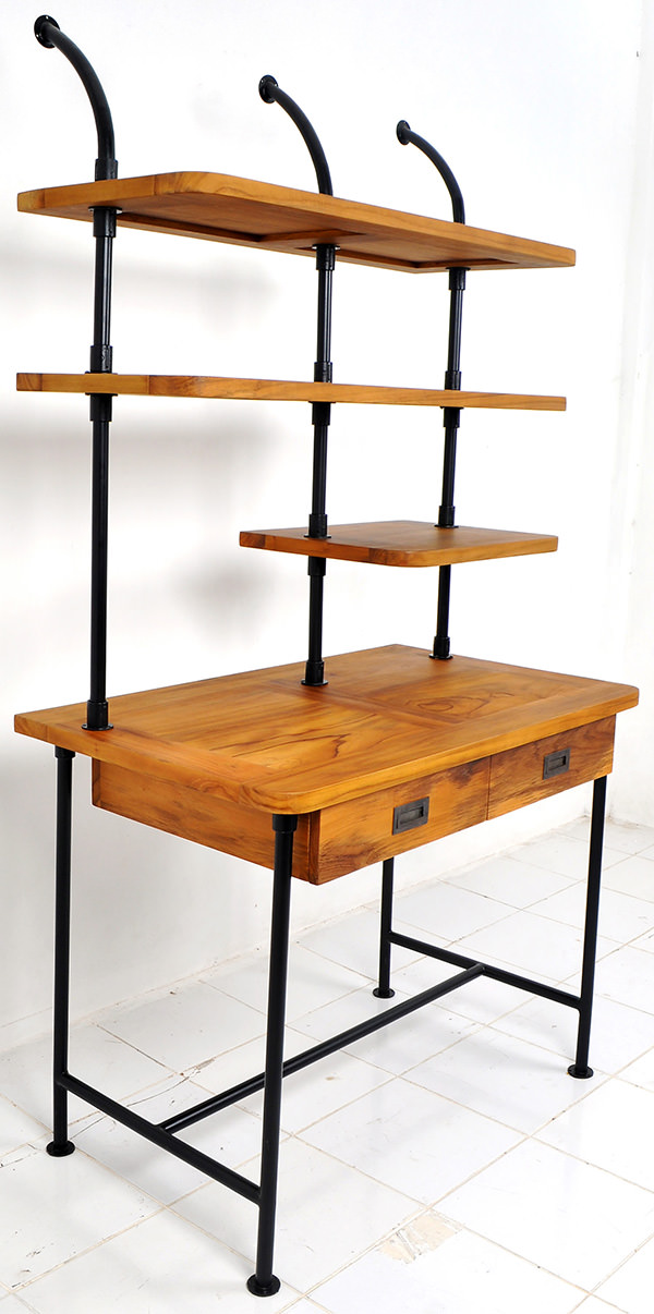 Working teak and iron study desk