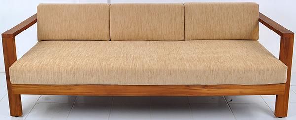 teak and linen sofa