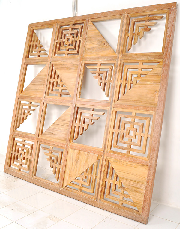 wooden restaurant partition panel with geometric design
