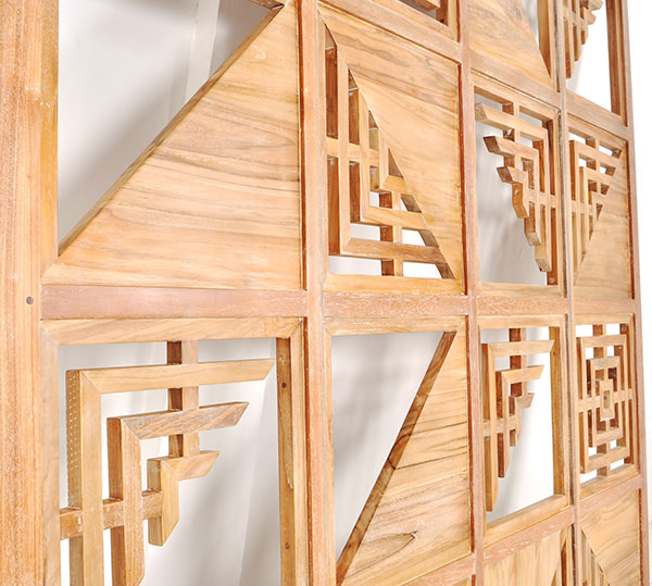 wooden restaurant partition panel with geometric design and natural finish