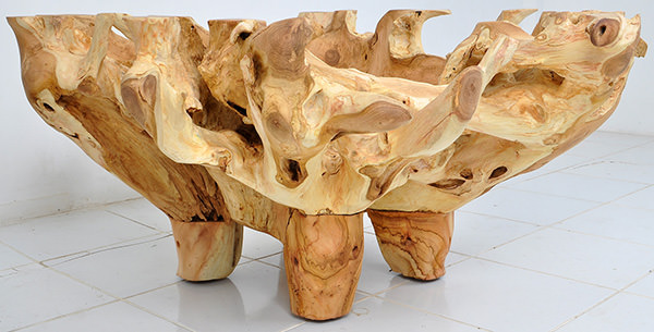 teak root table
