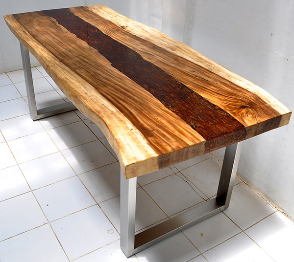 suar, resin and steel dining table