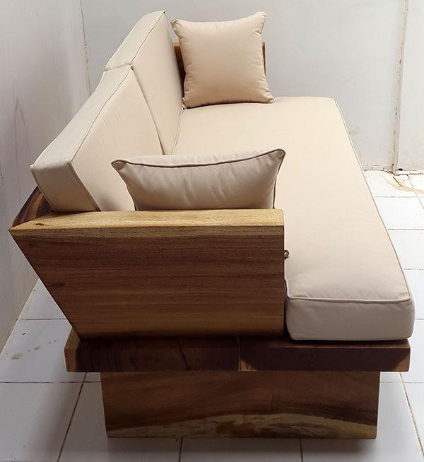 suar wood sofa with white mattress