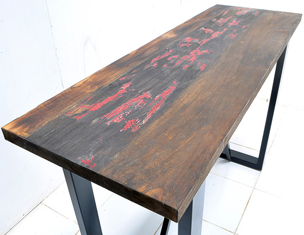 reclaimed teak table with iron legs
