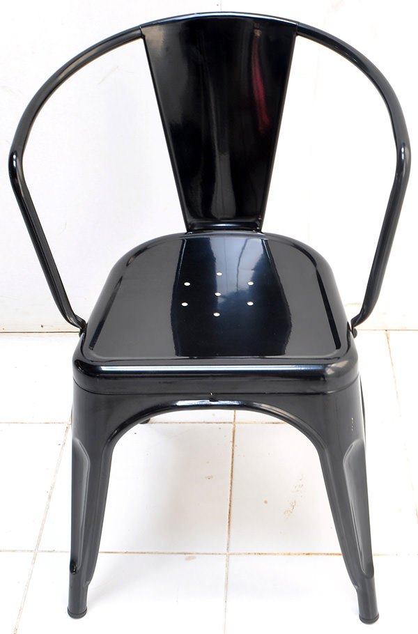 Classic black iron dining armchair with Danish design