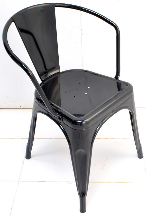 Classic black iron stackable dining armchair with Danish design