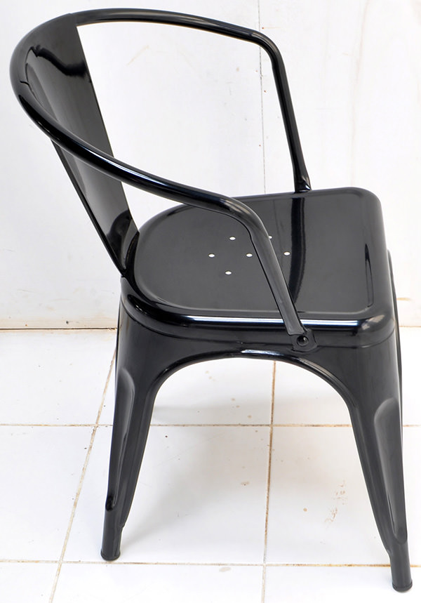 Classic black iron stackable dining armchair with Danish design and PU finish