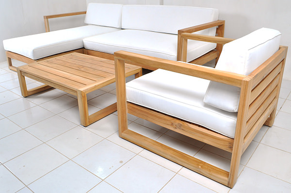 outdoor teak sofa set with sunbrella fabric and quickdry foam