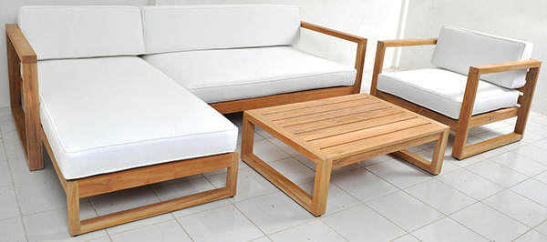grade A solid teak garden couch set with white upholstery