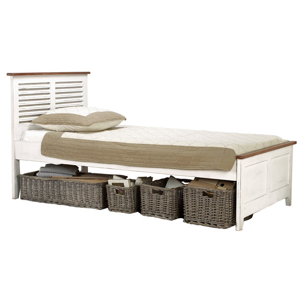 white french bed with patina