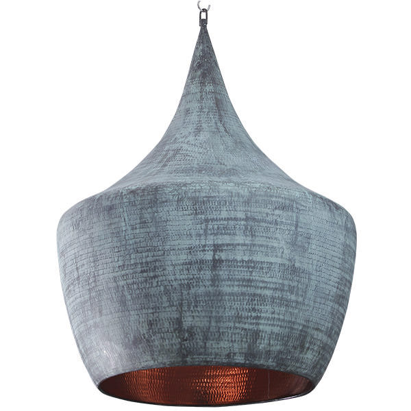 copper hanging lamp with patina