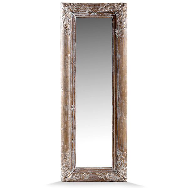 mahogany wood mirror with white distressed finishing and carvings