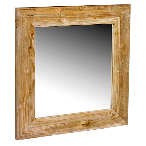 mahogany wood mirror with white distressed finishing and square top